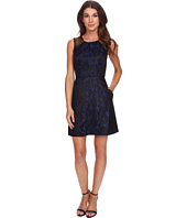 Aidan Mattox - Scroll Jacquard Dress with Lace Detail