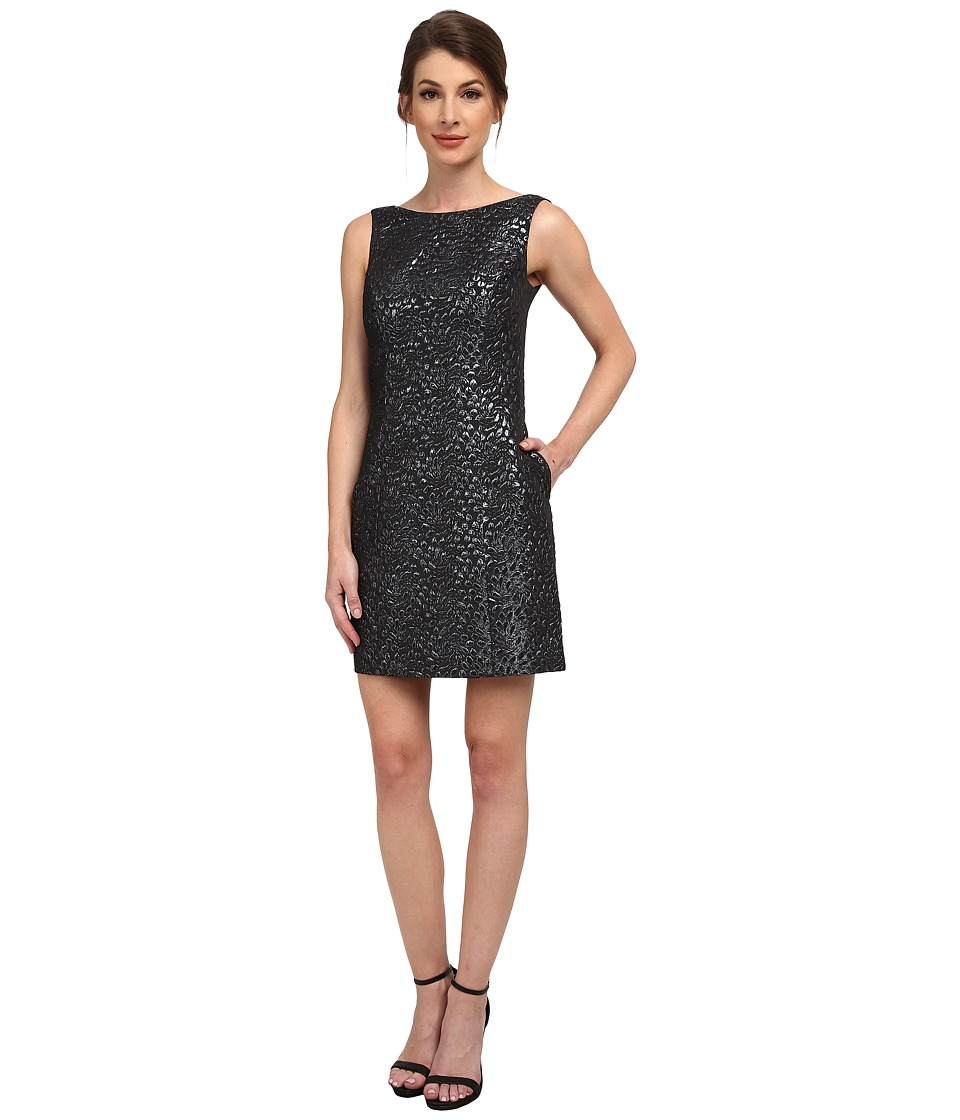Aidan Mattox Sleeveless Foil Jacquard Dress (Gunmetal) Women