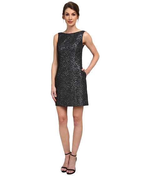 Aidan Mattox Sleeveless Foil Jacquard Dress