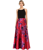 Aidan Mattox - Taffetta Print Ballgown with Stretch Halter Top
