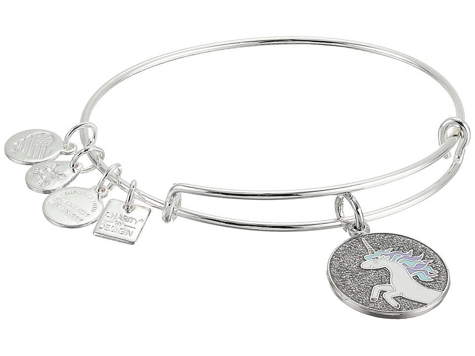 Alex and Ani - Charity by Design Unicorn Charm Bangle (Shiny Silver) Charms Bracelet