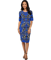 Adrianna Papell - Scoop Neck Jacquard Print Dress