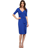 Adrianna Papell - Short Sleeve Drape Front Dress with Side Zip