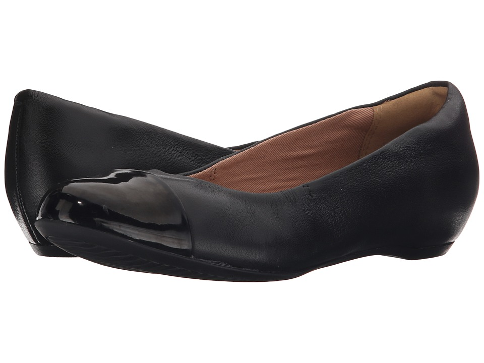 Clarks Alitay Susan Black Leather Womens Flat Shoes