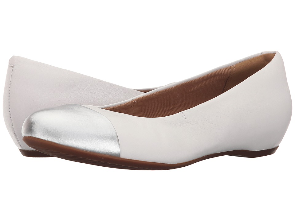 Clarks Alitay Susan White Leather Womens Flat Shoes