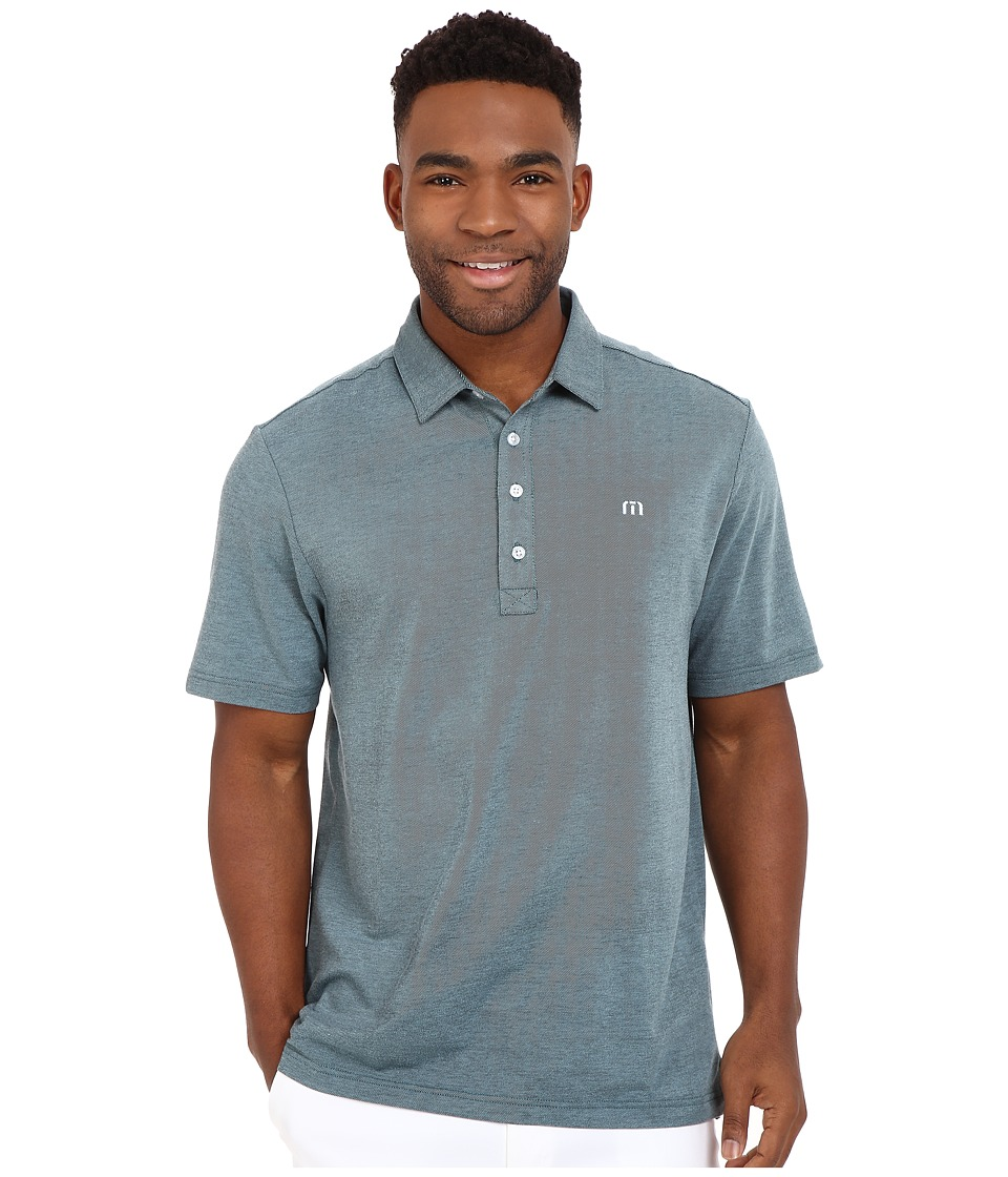 TravisMathew Kruger Polo Blue Tint Black Mens Short Sleeve Knit