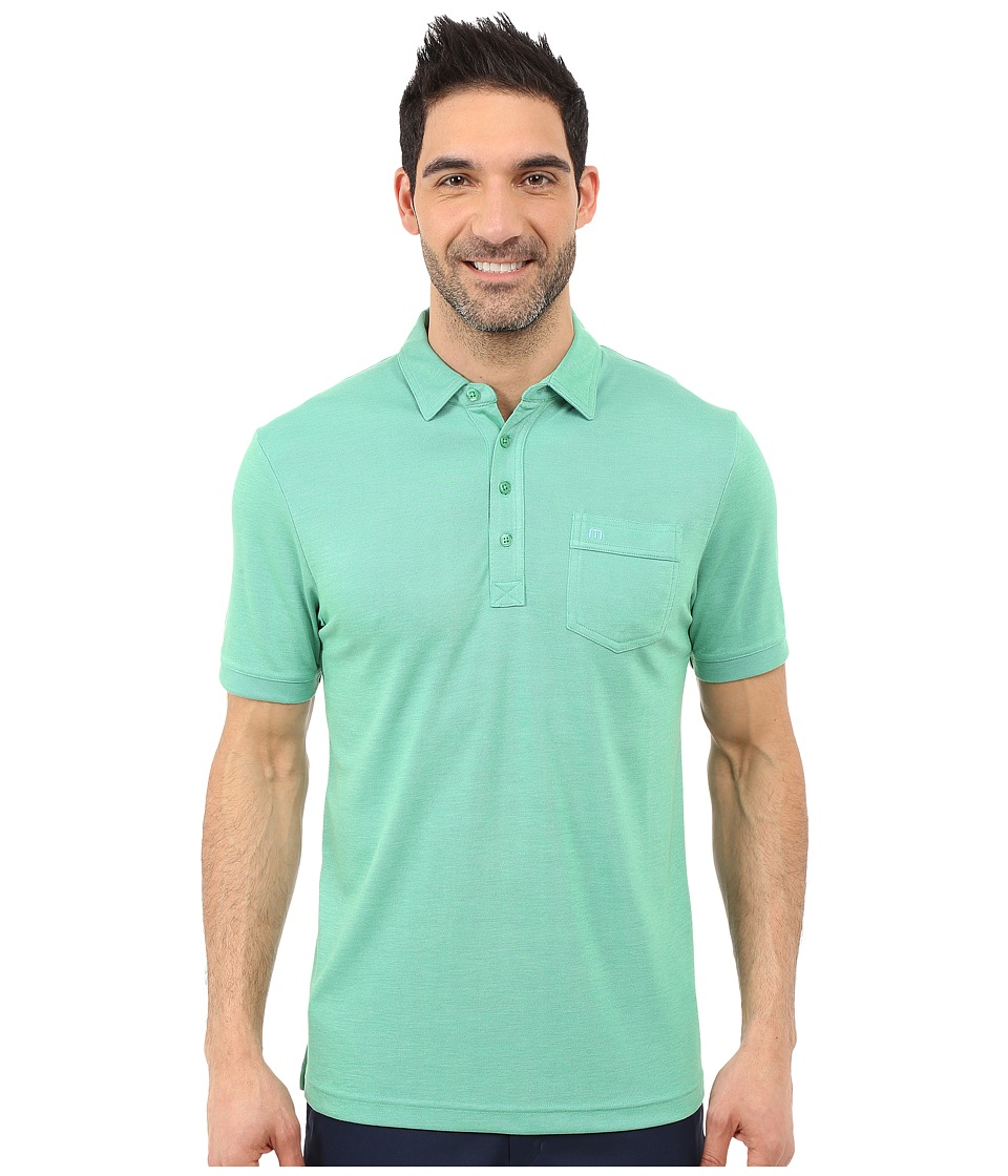 TravisMathew Keely Polo Heather Kelly Green Mens Short Sleeve Pullover