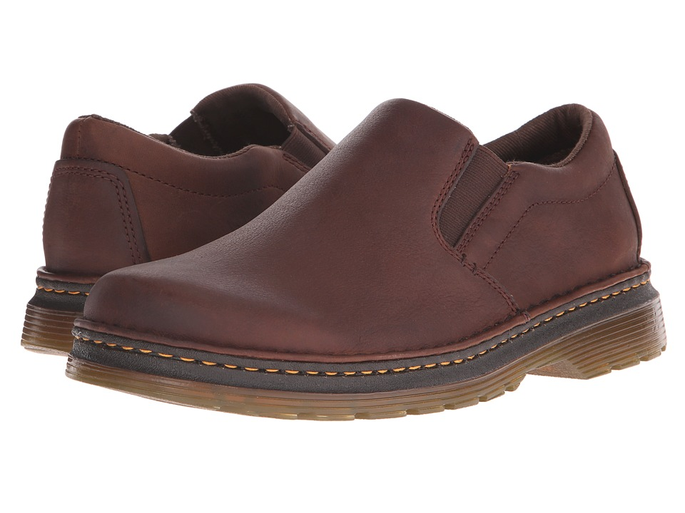 Dr. Martens - Boyle Slip-On Shoe (Dark Brown Grizzly/Hi Suede WP) Men