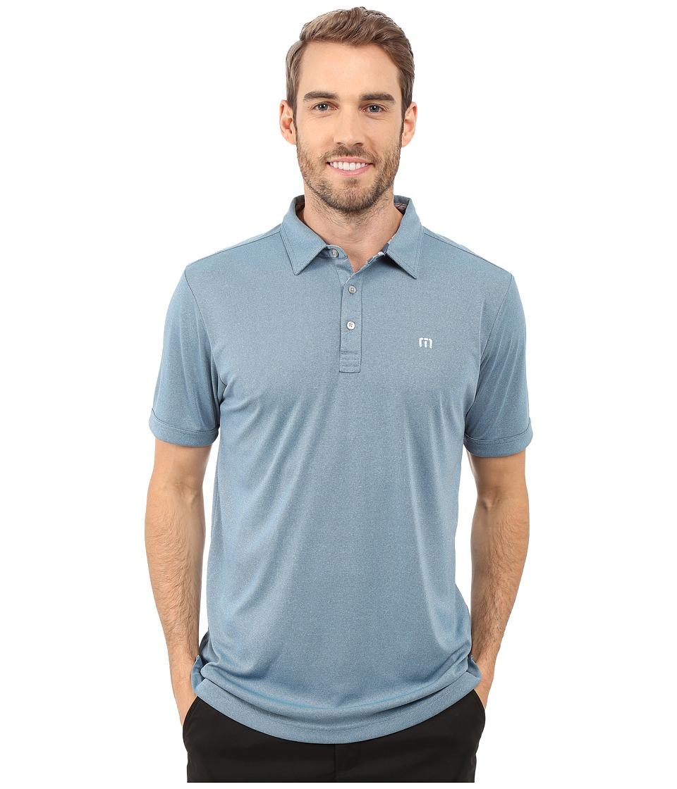 TravisMathew Beachcomber Polo Heather Blue Grotto Mens Short Sleeve Knit
