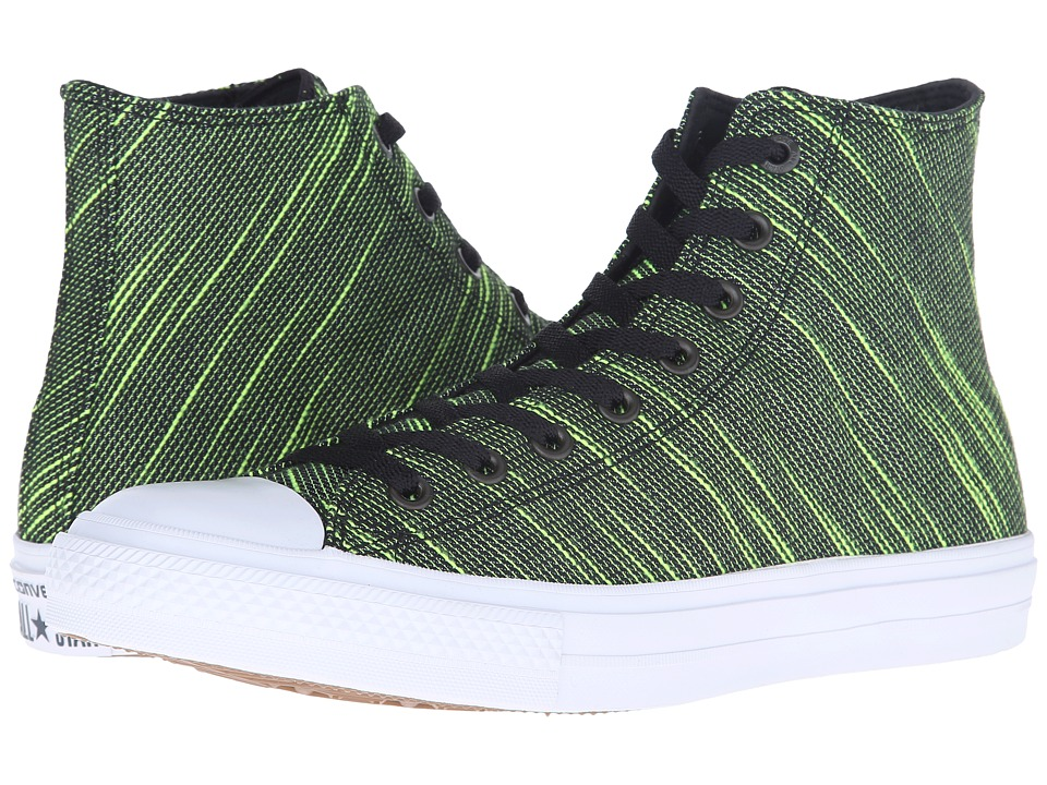 Converse Chuck Taylor All Star II Knit Hi Black/Volt Green/White Textile Athletic Shoes
