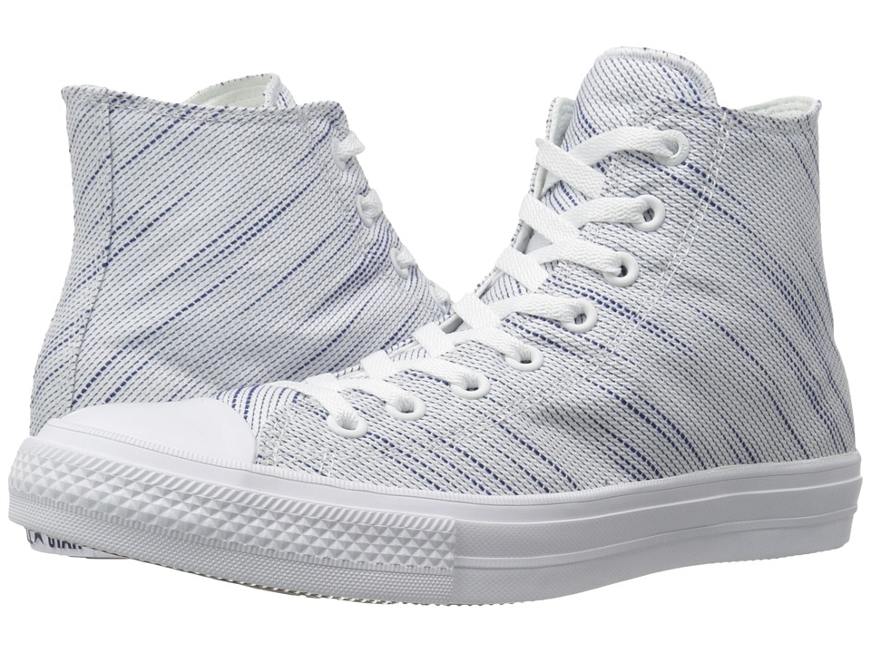 Converse Chuck Taylor All Star II Knit Hi White/Roadtrip Blue/Navy Textile Athletic Shoes