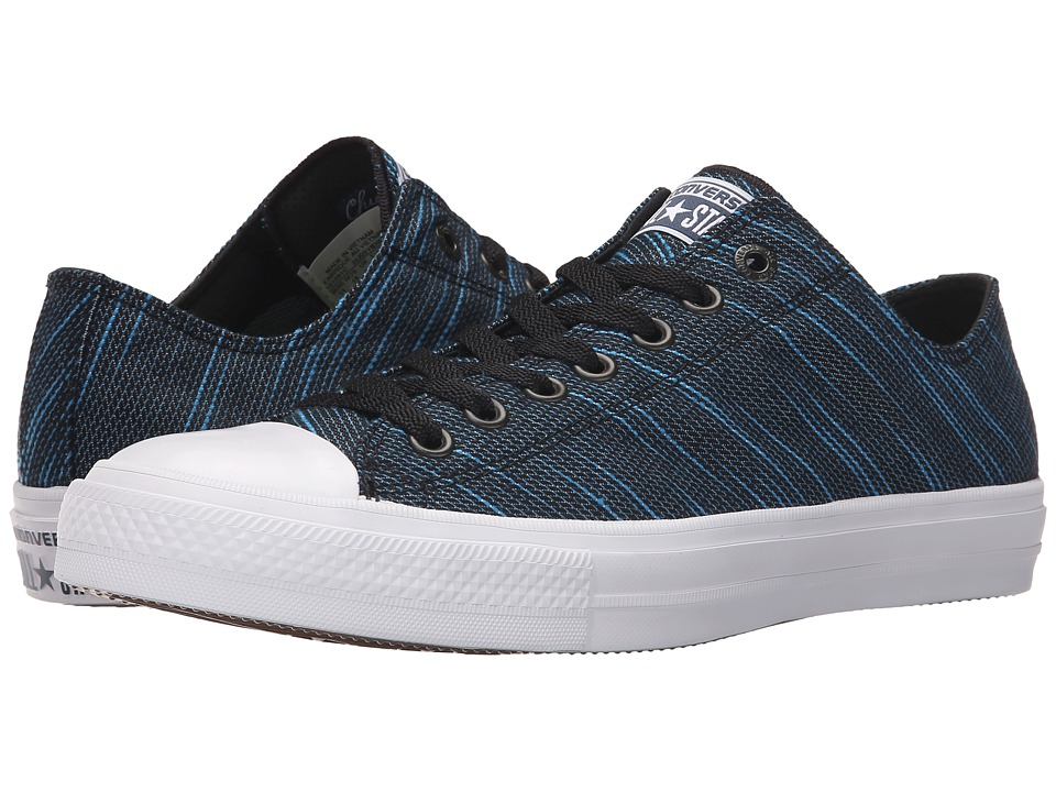 Converse Chuck Taylor All Star II Knit Ox Black/Spray Paint Blue/White Textile Athletic Shoes