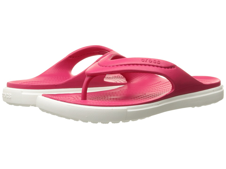 Crocs - CitiLane Flip (Raspberry/White) Slide Shoes