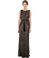 Vince Camuto - All Over Geometric Sequin Gown w/ Fringe Sash