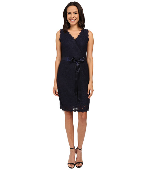 Adrianna Papell Sleeveless Wrap Front Lace Cocktail Dress