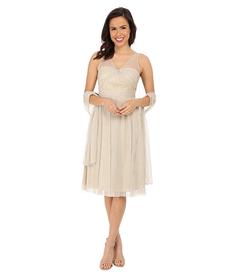 Adrianna Papell Sleeveless Metallic Tulle Mid Length Party Dress