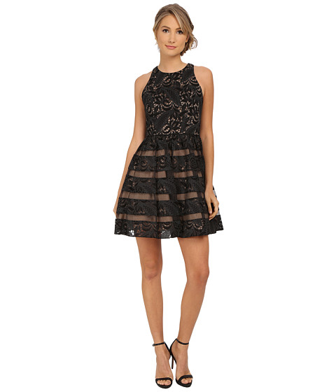 Aidan Mattox Sleeveless Lace Cocktail Dress w/ Illusion
