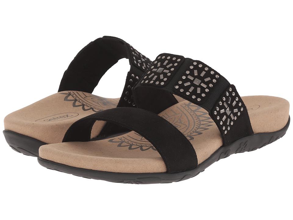 Aetrex Macy Black Womens Sandals