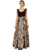 Aidan Mattox - Cap Sleeve Ballgown w/ Jacquard Foil Skirt