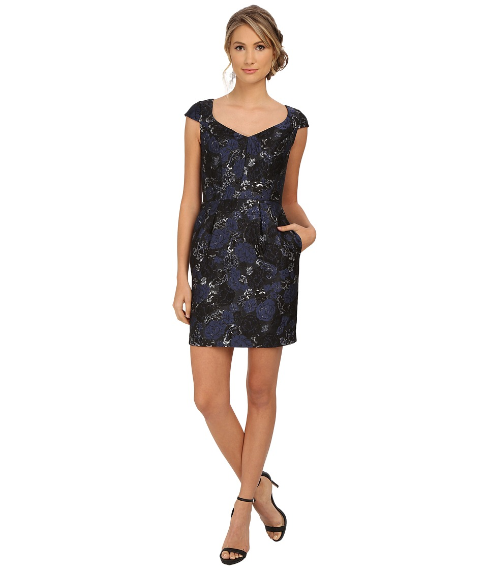 Aidan Mattox Cap Sleeve Foil Jacquard Cocktail Dress Blue/Black Womens Dress