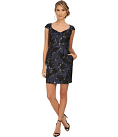 Aidan Mattox - Cap Sleeve Foil Jacquard Cocktail Dress