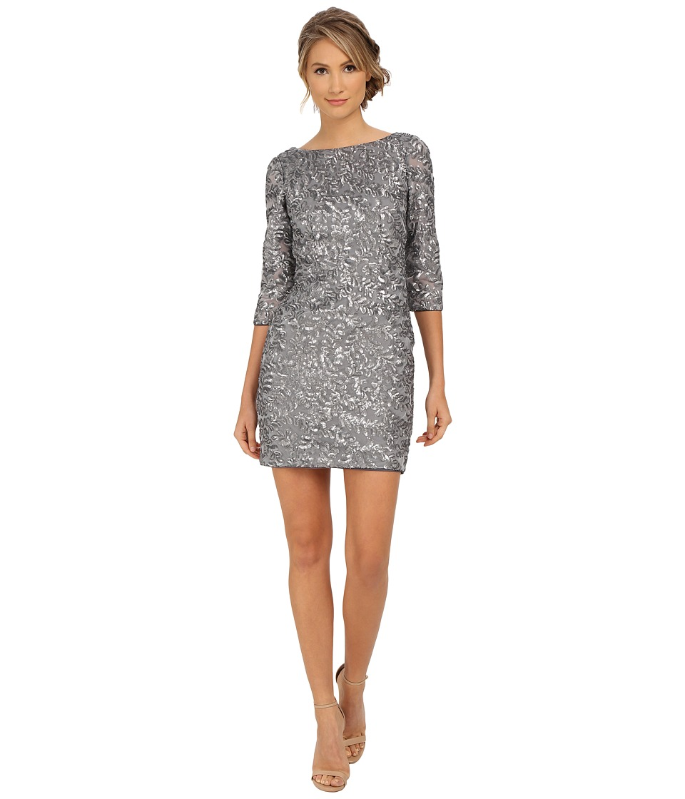 Aidan Mattox Beaded 3/4 Sleeve Cocktail Dress Gunmetal Womens Dress