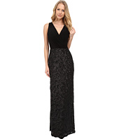 Aidan Mattox - Sleeveless Surplice Jersey Top Gown w/ Sequin Skirt