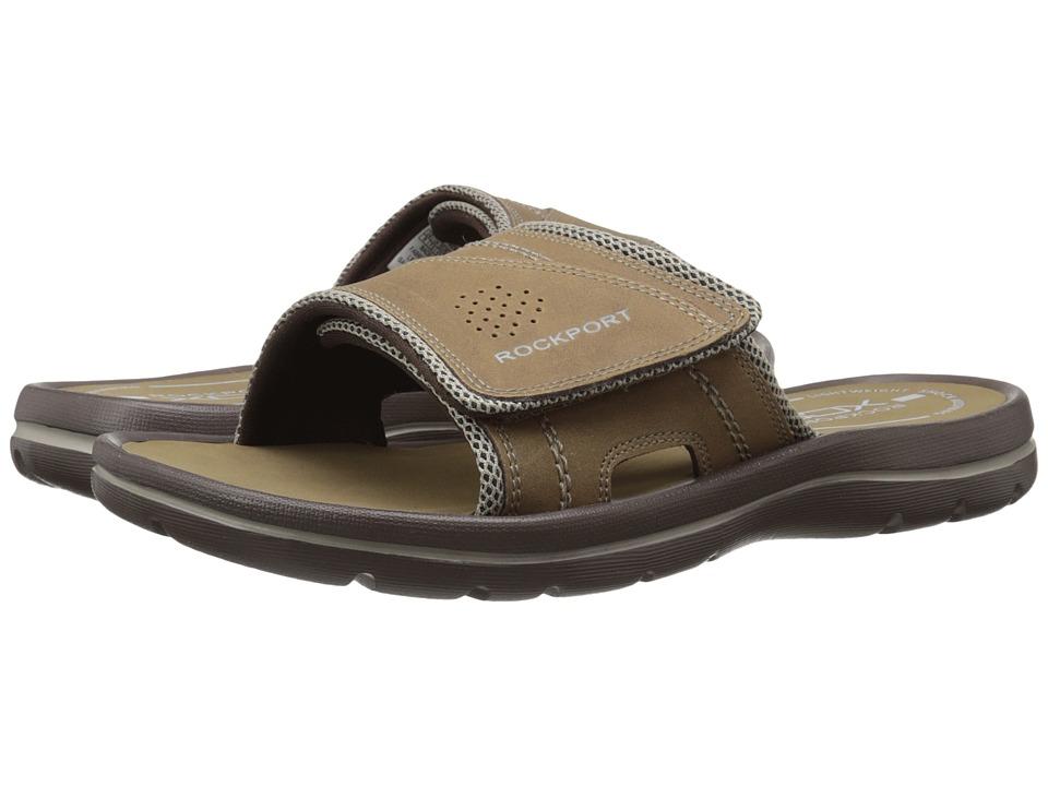 Rockport Get Your Kicks Sandals Hook and Loop Slide Tan/Sand Mens Sandals