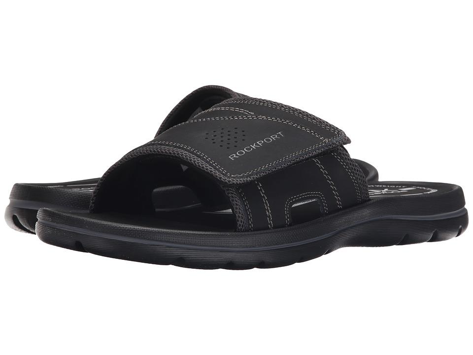 Rockport - Get Your Kicks Sandals Hook and Loop Slide (Black/Grey) Men