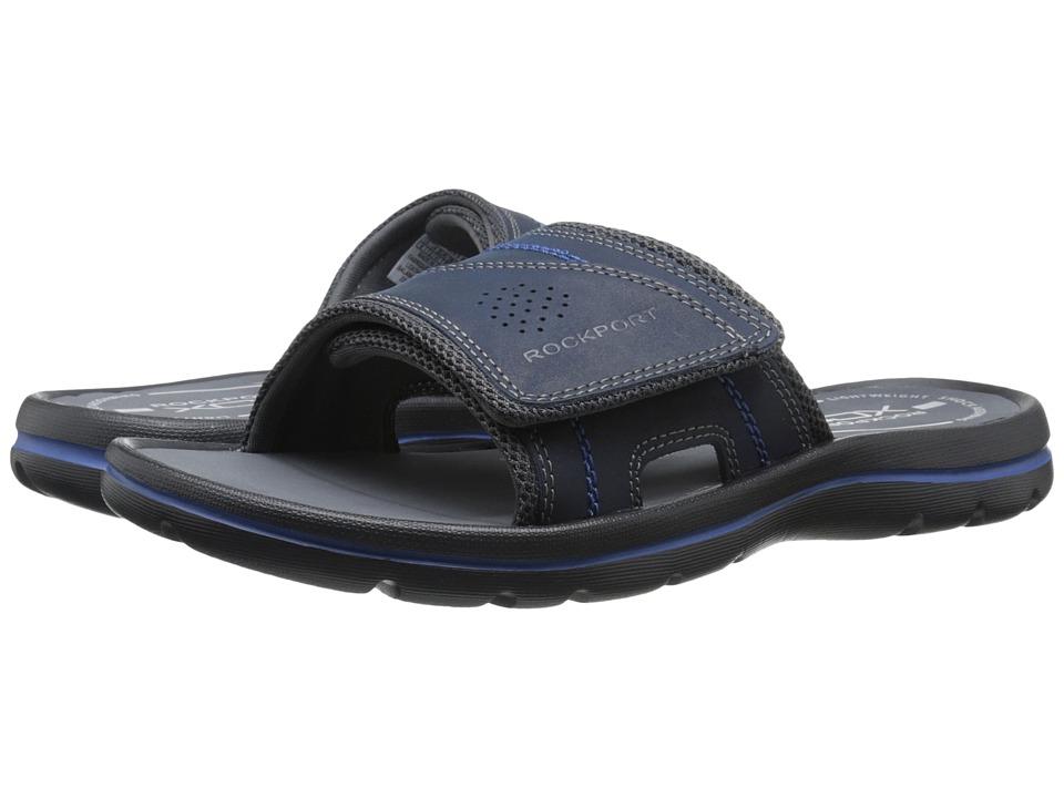 Rockport Get Your Kicks Sandals Hook and Loop Slide Navy/Blue Mens Sandals