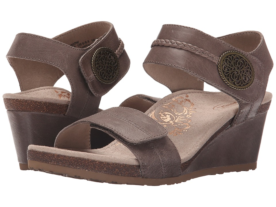 Aetrex Arielle Wedge Sandal Stone Womens Wedge Shoes