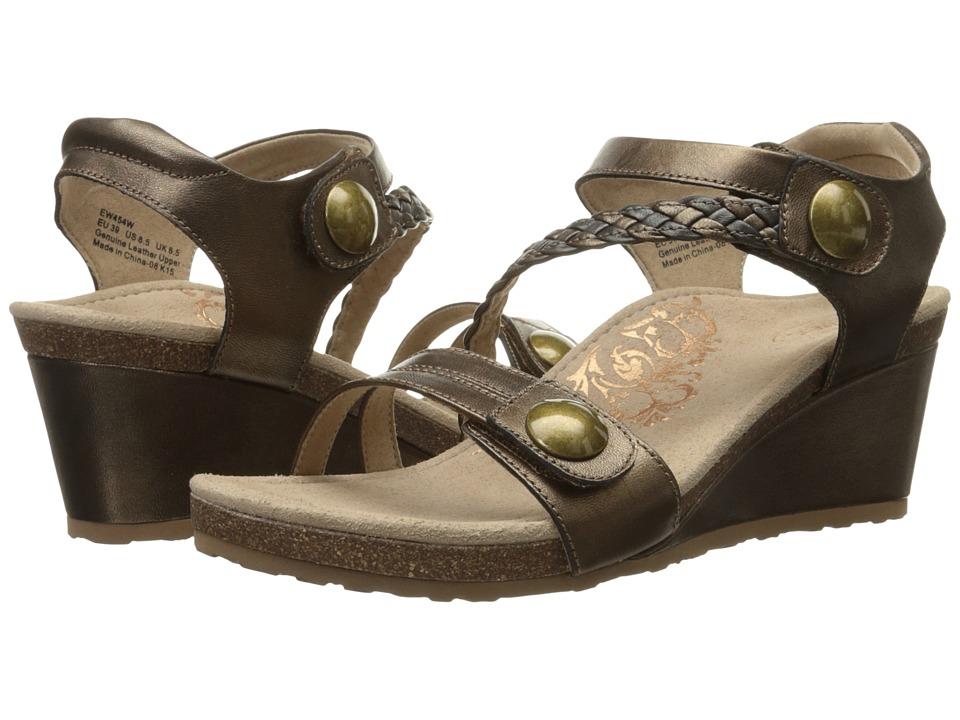 Aetrex Naya Wedge Sandal Bronze Womens Wedge Shoes