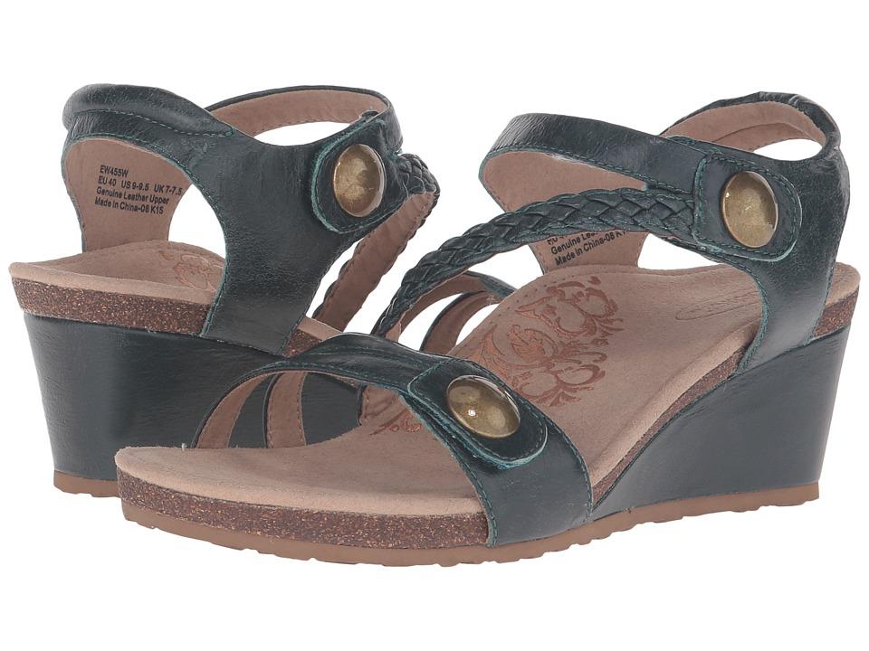 Aetrex Naya Wedge Sandal Dark Teal Womens Wedge Shoes