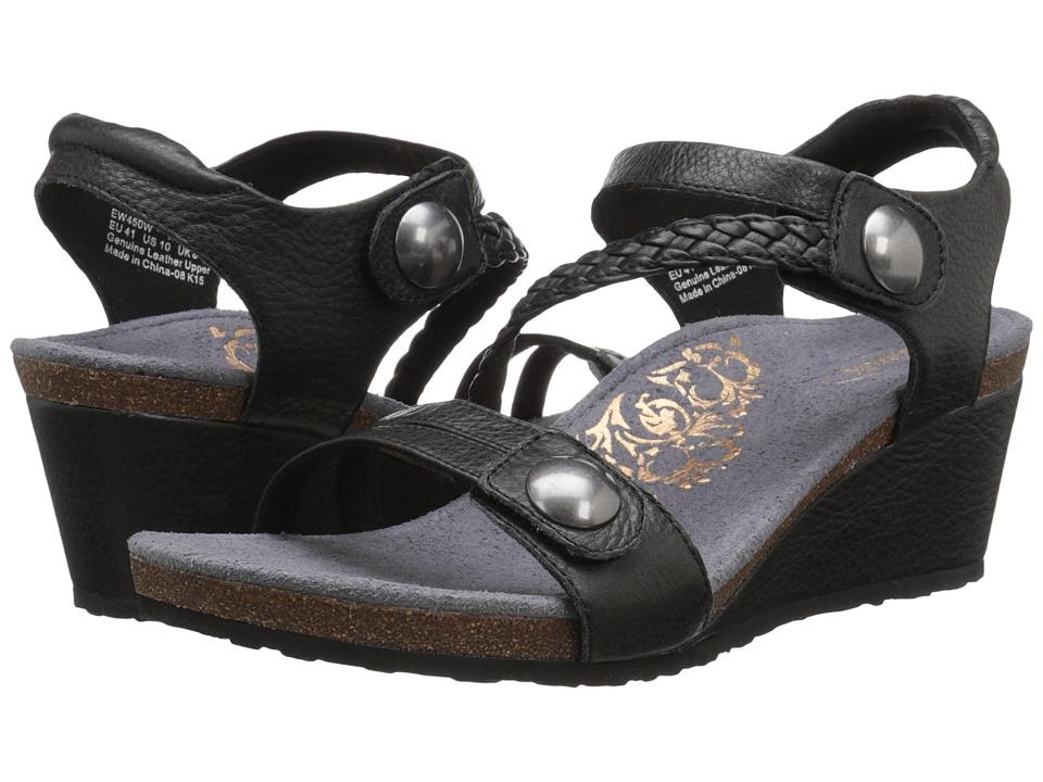 Aetrex Naya Wedge Sandal Black Womens Wedge Shoes