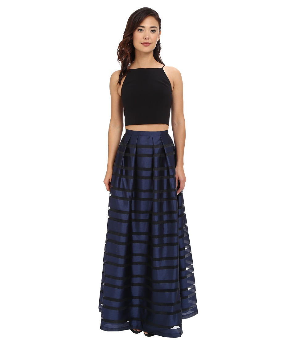 Aidan Mattox Ball Skirt w/ Illusion Panels and Stretch Halter Top Black/Navy Womens Dress