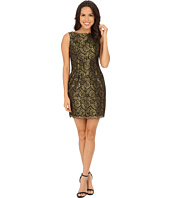 Adrianna Papell - Sleeveless Metallic Lace Cocktail Dress