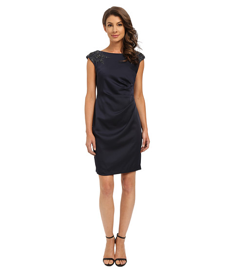 Adrianna Papell Cap Sleeve Satin Back Crepe Cocktail Dress