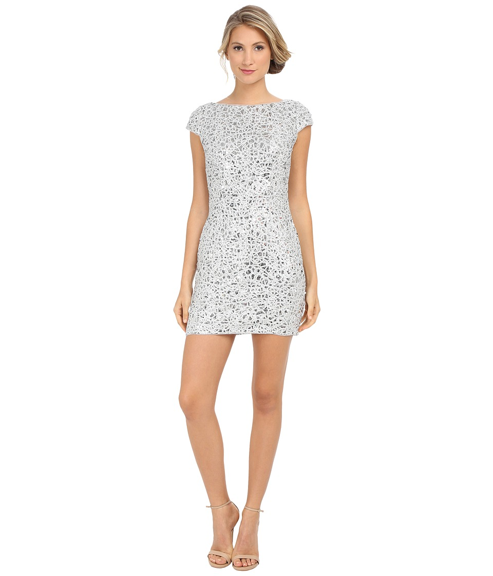 Adrianna Papell Sequin Chem Lace Shift Dress Silver Womens Dress