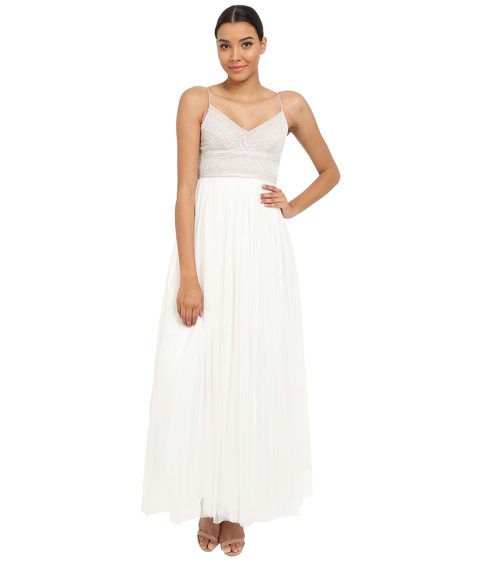 Adrianna Papell - Sleeveless Beaded Bodice Tulle Gown