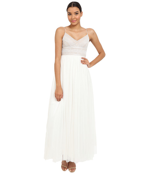 Adrianna Papell Sleeveless Beaded Bodice Tulle Gown