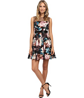 Adrianna Papell - Sleeveless Floral Printed Charmuese Party Dress