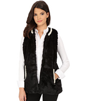 Betsey Johnson - Pearl Trim Cozy Mink Long Vest