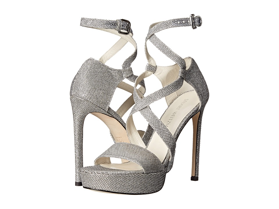Stuart Weitzman Bridal amp Evening Collection Streamer Silver Noir Womens 1 2 inch heel Shoes