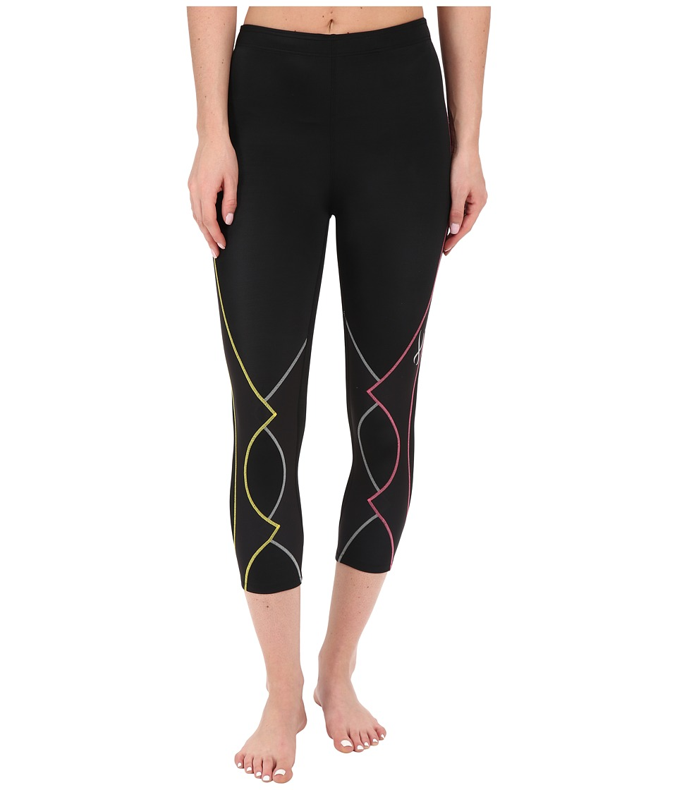 CW X 3/4 Expert Tights Black/Yellow/Grey/Pink Womens Workout