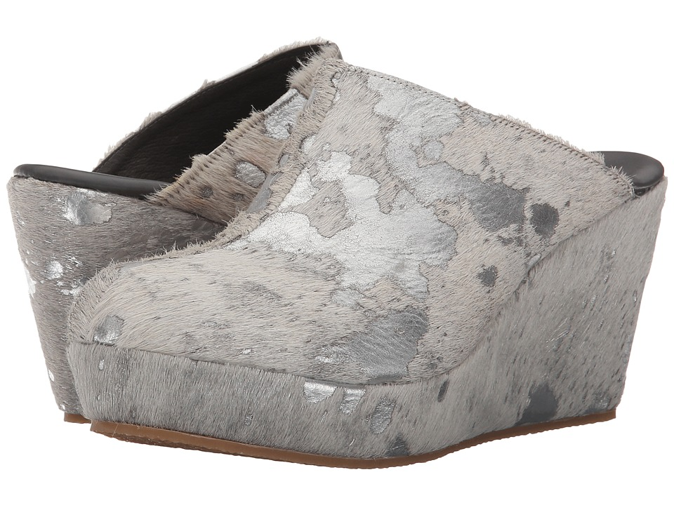 Cordani Fresno Silver Plated Cow Hair Womens Clog Shoes