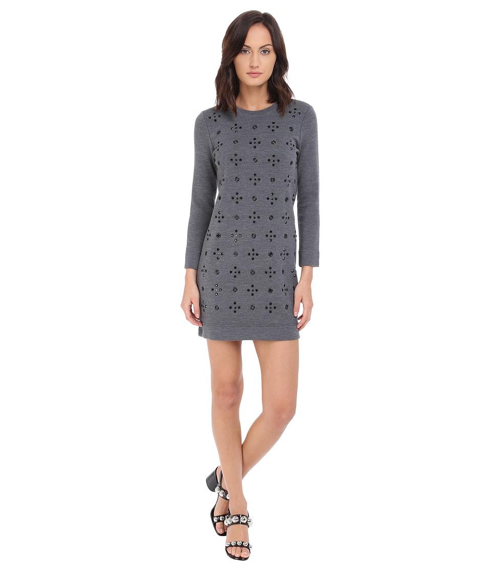 Marc by Marc Jacobs Anja Grommet Sweater Dress Dark Grey Melange Womens Dress