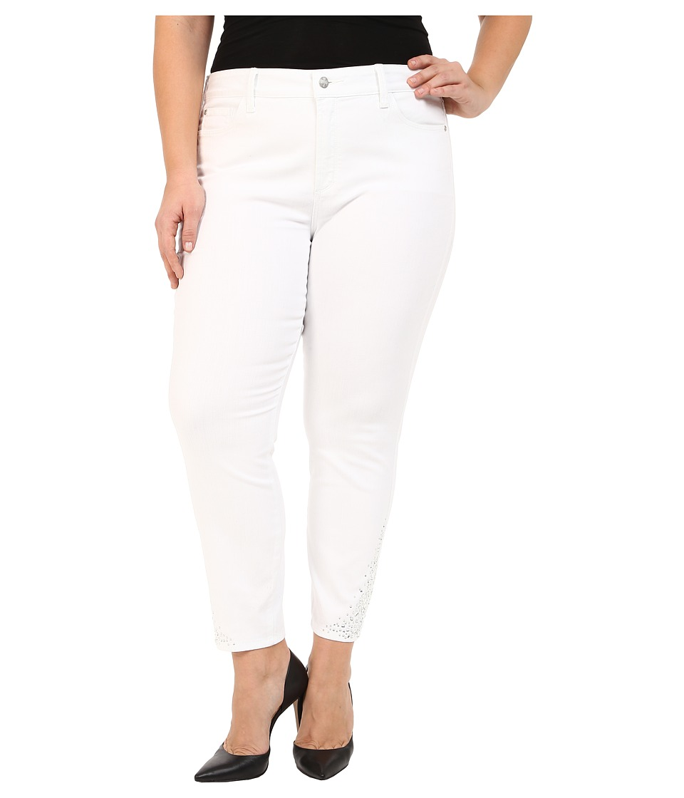 NYDJ Plus Size Plus Size Amira Fitted Ankle in Optic White Optic White Womens Jeans