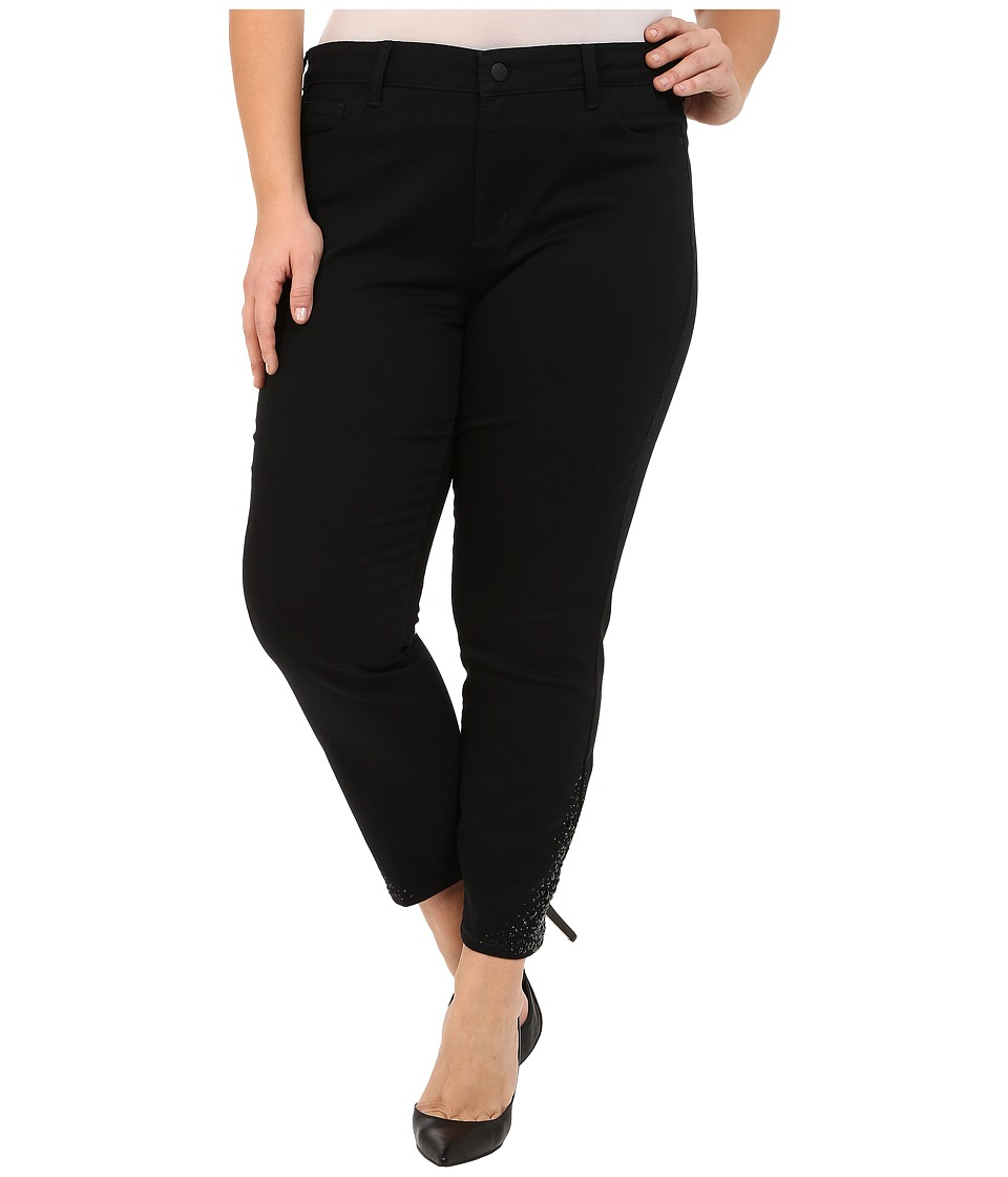 NYDJ Plus Size Plus Size Amira Fitted Ankle in Black Black Womens Jeans