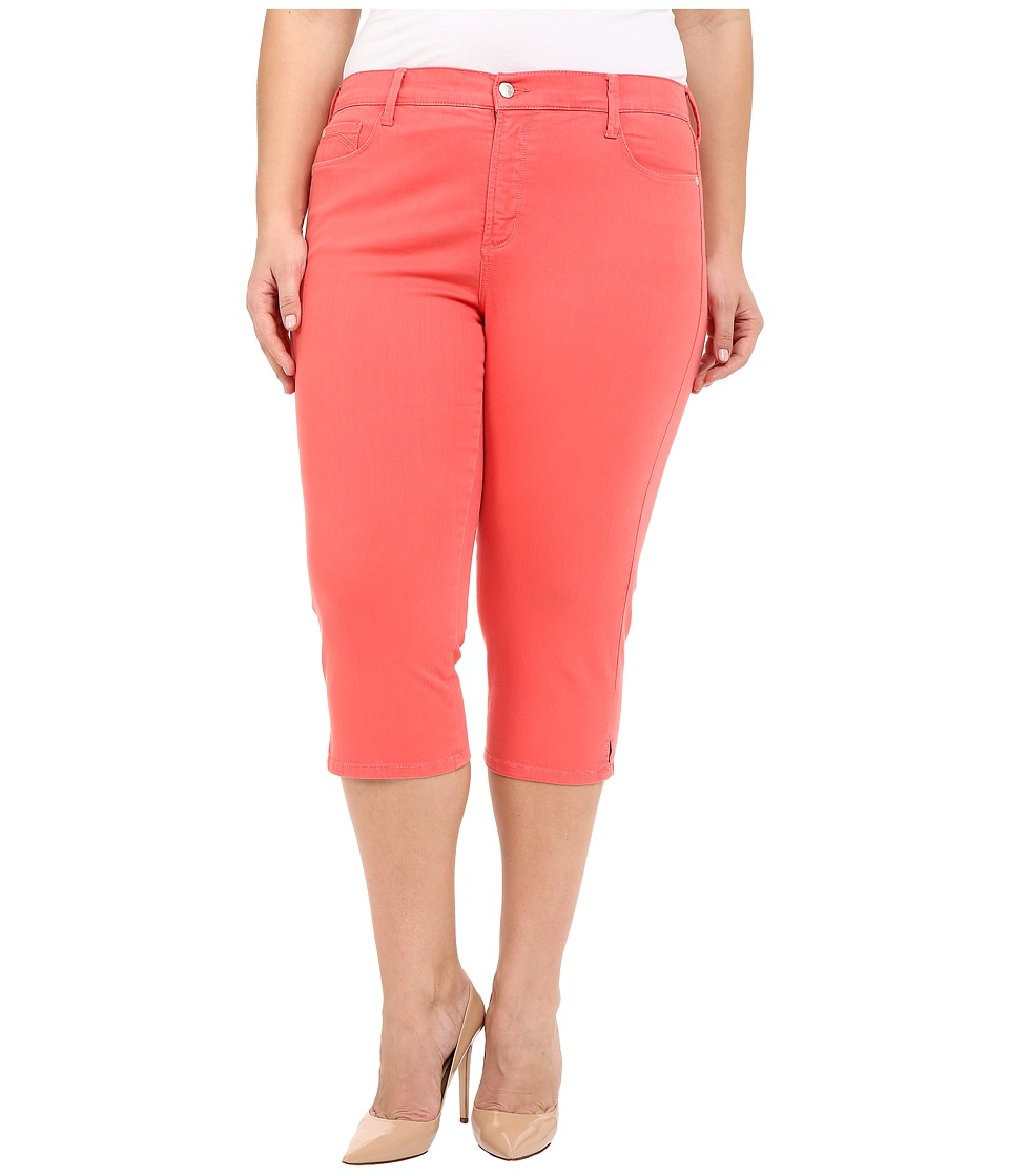 NYDJ Plus Size Plus Size Ariel Crop in Coral Branch Coral Branch Womens Jeans