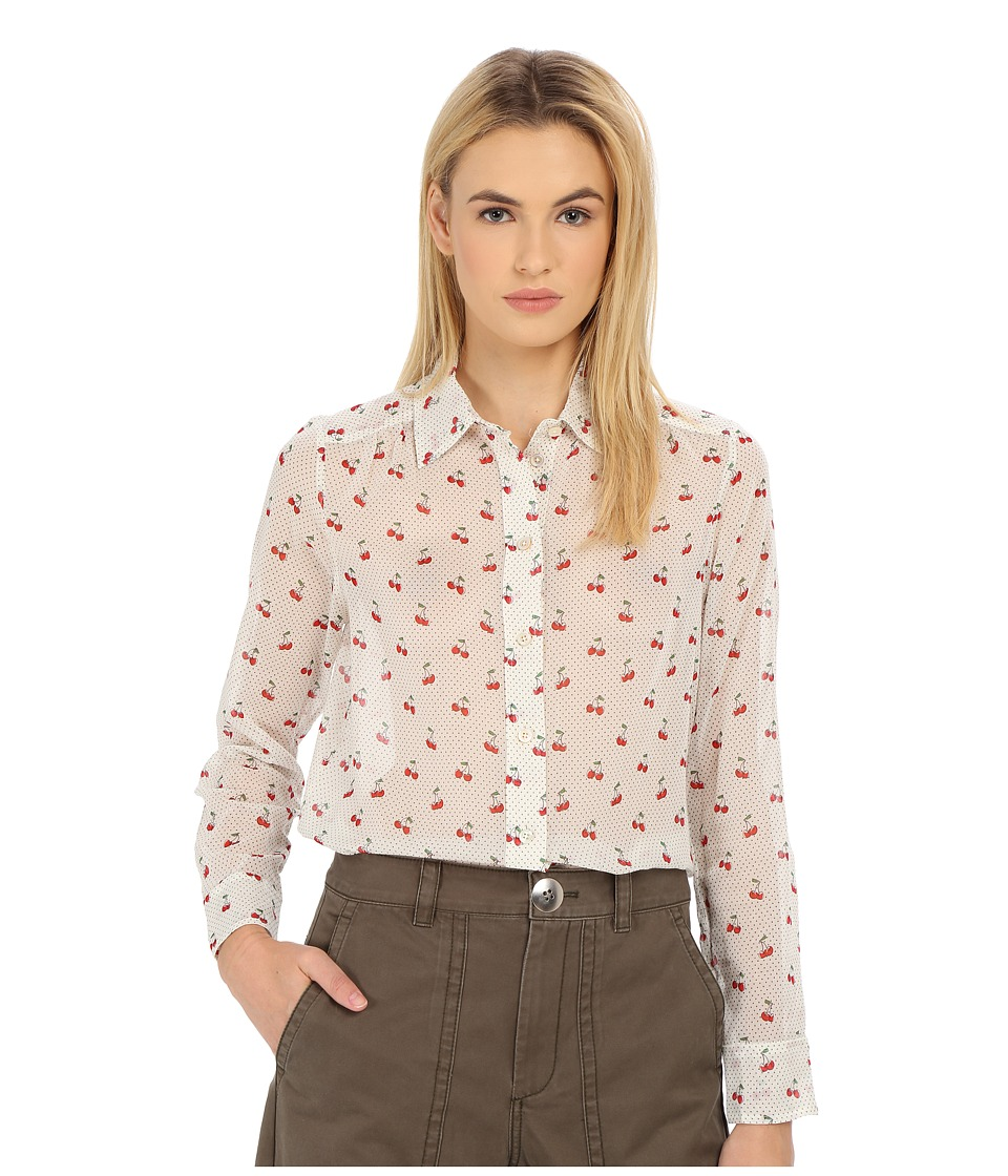 Marc by Marc Jacobs Cherry Pindot Voile Button Up Shirt Off White Multi Womens Blouse